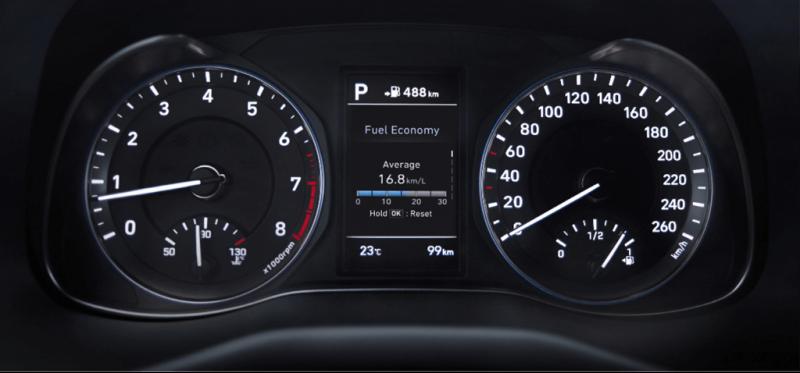 Màn hình hiển thị thông số của Hyundai Kona