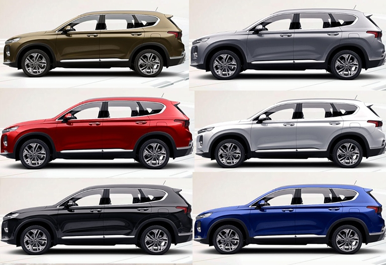 Màu xe Hyundai Santafe mẫu 2019
