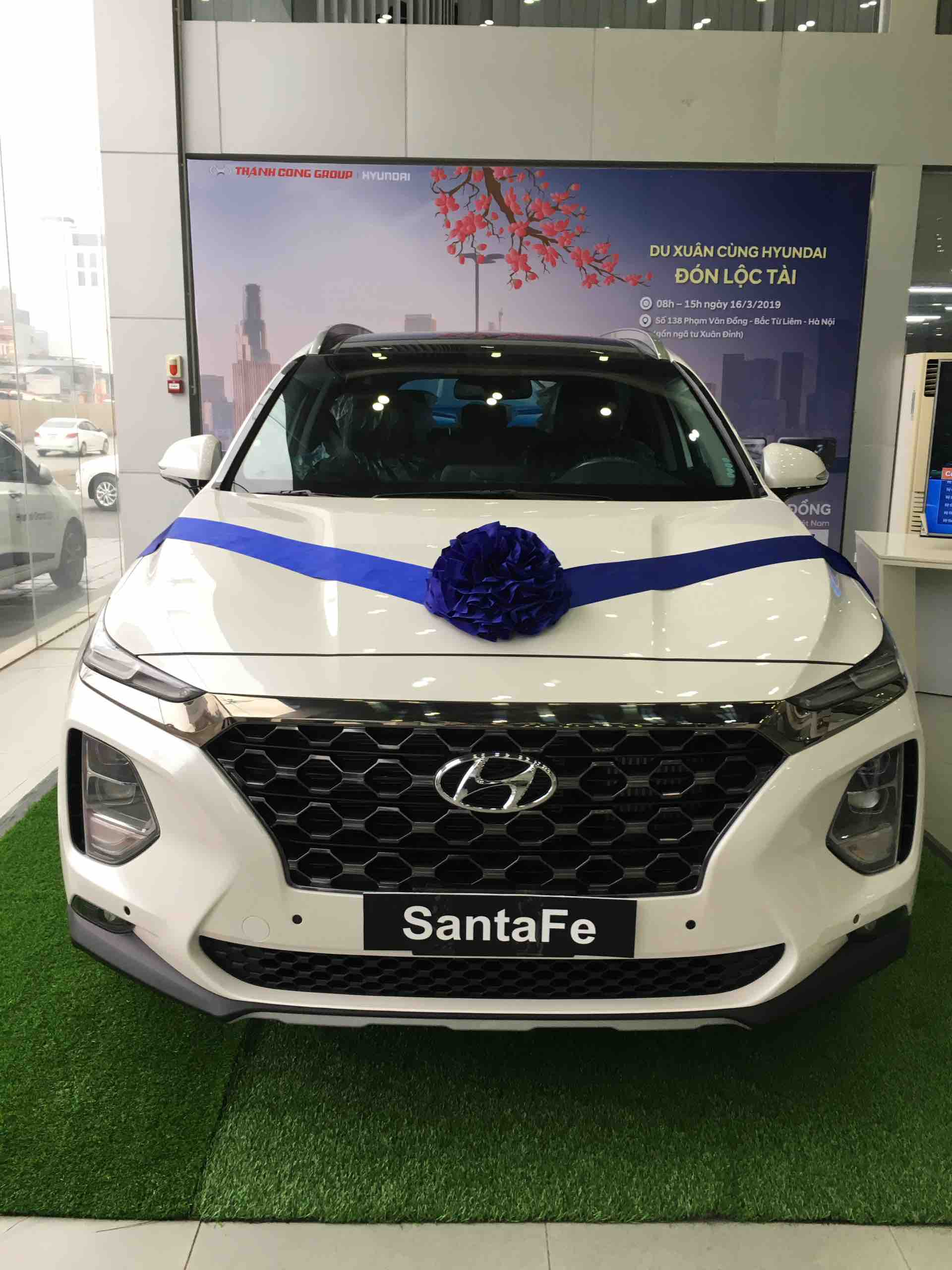 Hyundai Santafe 2020 máy dầu Premium màu trắng
