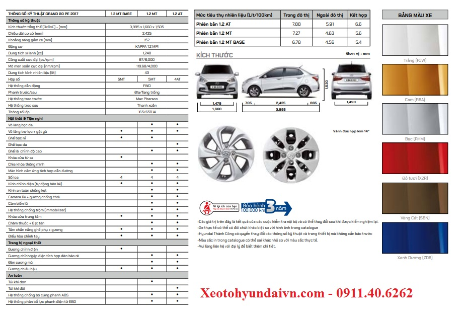 Thông số kỹ thuật Hyundai Grand i10 Sedan